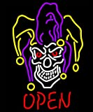 iecool Joker Open Neon Sign 20''x24'' Real Glass Bright Neon Light for Tattoo Poker Game Room