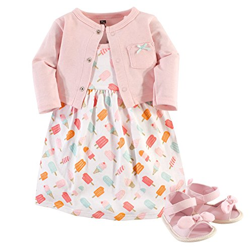 Hudson Baby Baby Girl Cotton Dress, Cardigan and Shoe Set, Ice Cream, 6-9 Months from Hudson Baby