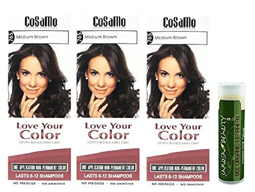 Cosamo -Love Your Color- Ammonia & Peroxide Free Hair Color #765 Medium Brown (Pack of 3) with One Jarosa Beauty Bee Organic Peppermint Lip Balm 100% All Natural Deep Moisturizing Usda Certified (Cosamo Hair Color compare prices)