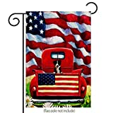 "Patriotic Garden Flag Dog Flowers Rustic Farm Old Red Truck Daisy Fourth of July | Double-sided, Polyester, Great Design Yard Flag to Brighten Up Your Home 12.5"" x 18"""