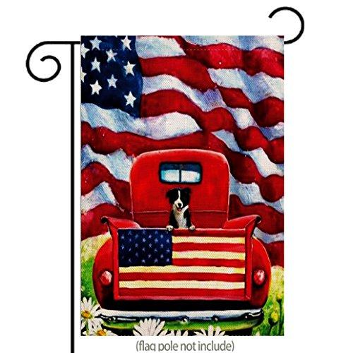 Cheap  Patriotic Garden Flag Dog Flowers Rustic Farm Old Red Truck Daisy Fourth..