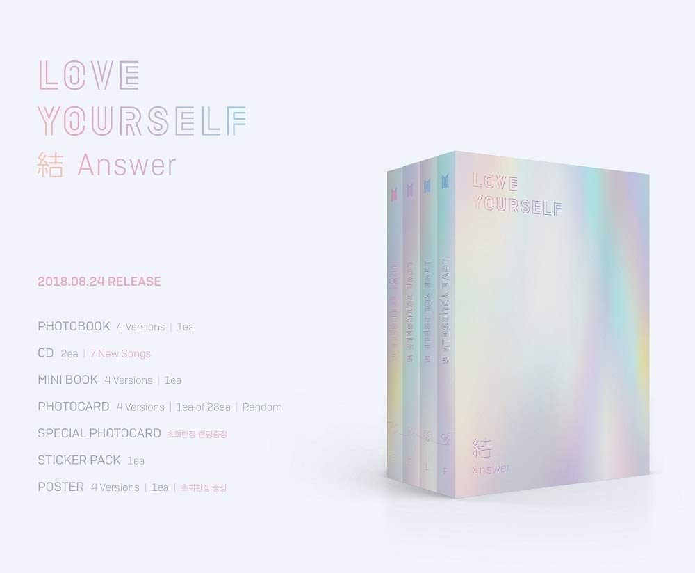 BTS - [Love Yourself 結 'Answer'] 4th Album F VER 2CD+Poster+116p PhotoBook+20p Mini Book+1p PhotoCard+1p Sticker+Pre-Order+Extra PhotoCard Set K-POP Sealed by BTS (Image #2)