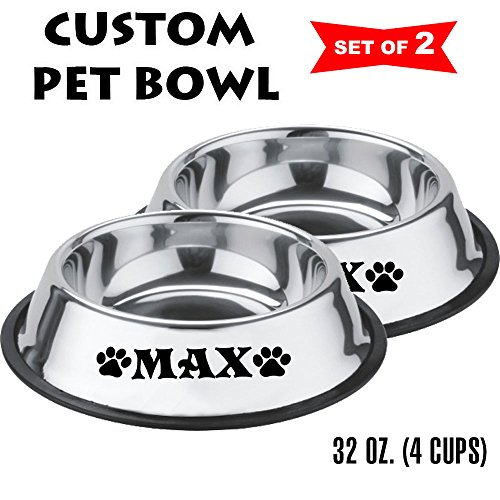 Engraved Dog Bowls - Jeyfel Decals: Personalized Stainless Steel Pet Bowl Set. Dog, Cat. 32 OZ. (4 Cups) (Black)