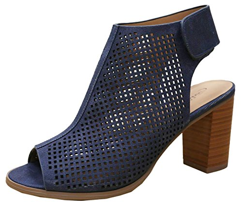 Cambridge Select Women's Laser Cut Slingback Stacked Heel Pump Bootie (9 B(M) US, Blue) (Blue Peep Toe Shoes)