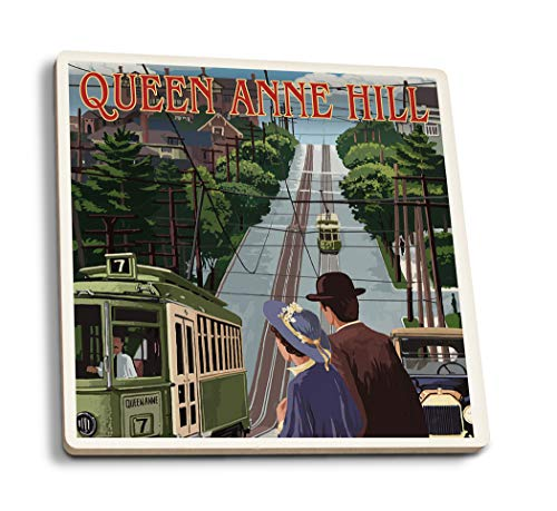 (Lantern Press Seattle, Washington - Queen Anne Hill Counterbalance (Set of 4 Ceramic Coasters - Cork-Backed, Absorbent) )