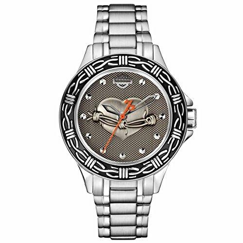 Harley-Davidson Women's Bulova Heart & Barbed Wire Wrist Watch 76L166