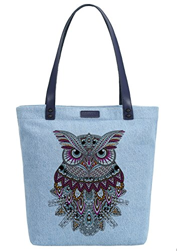So'each Women's Animal Owl Denim Dye Handbag Tote Shoulder Shopper Bag Azul