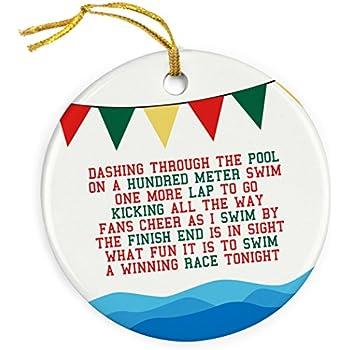 chalktalksports jingle all the way christmas ornament swimming porcelain ornaments