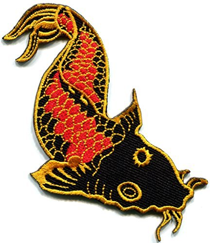 Japanese koi carp fish tattoo Japan love embroidered applique iron-on patch new