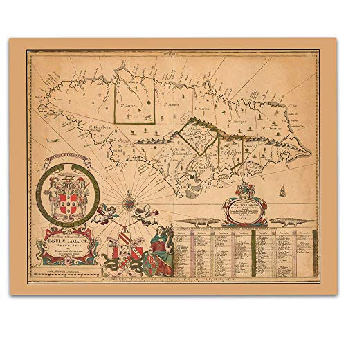 Jamaica Vintage Map Circa 1672-11 x 14 Unframed Print - Great Housewarming Gift. Jamaica Themed Office Decor.