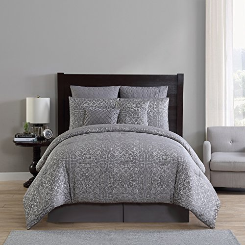 Comforter Tufted Set (VCNY Home Med-8CS-Quen-FA Medallion 8pc Comforter Set, Queen, Grey)