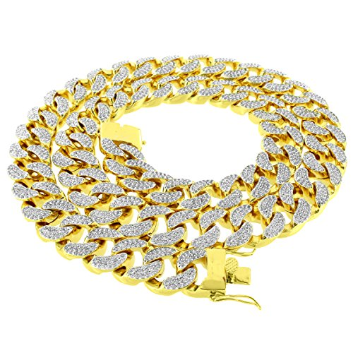 14k Gold Finish Miami Cuban Link Heavy Chain Necklace 38'' Full Iced Out 20mm Custom by Master Of Bling
