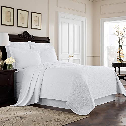 MISC White Matelasse Coverlet King Lightweight Embroidered Bedding Textured Floral Scrollwork Trellis Classic Cotton 96x108, 1 ()