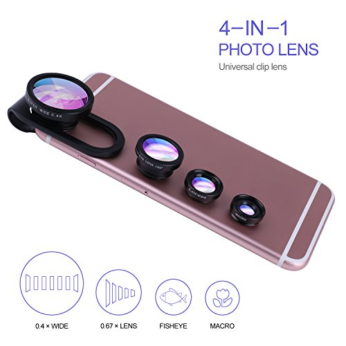 4 in 1 Professional HD Camera Lens Kit ( 0.4X Wide Angle Lens, 0.67X Lens 10X Macro Lens), Fisheye, Clip on Cell Phone Lens Camera Lens Kits for iPhone 6 Smart Phones (Jelly Lens Iphone Filter compare prices)