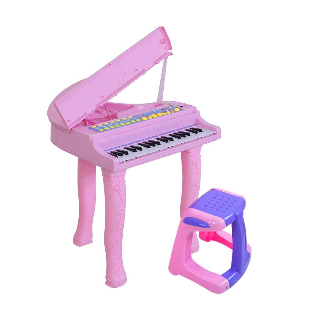 GLJJQMY Anfänger Musik Spielzeug Kinder Keyboard Klavier 3-6 Jahre alt mit Mikrofon Kinder Keyboard Klavier (Farbe   Rosa) Rosa