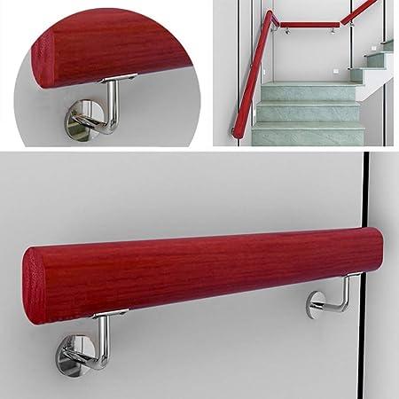 LTFS Rojo pasamanos de Madera, Barandillas de Escalera de Pared Interior, con Acero Inoxidable Soportes de Montaje en Pared, 78 mm de Ancho, 50 mm de Grosor Longitud Personalizable: Amazon.es: Hogar