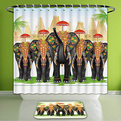 Waterproof Shower Curtain and Bath Rug Set Ethnic Elephants in Traditional Costumes with Umbrellas Indian Ceremony Ritual Bath Curtain and Doormat Suit for Bathroom Extra Wide Size 78
