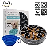 Left&Right Slow Feeder Dog Bowl Bloat Stop Dog Food Bowl Maze Interactive Puzzle Non Skid, Come with Free Travel Bowl (Grey)