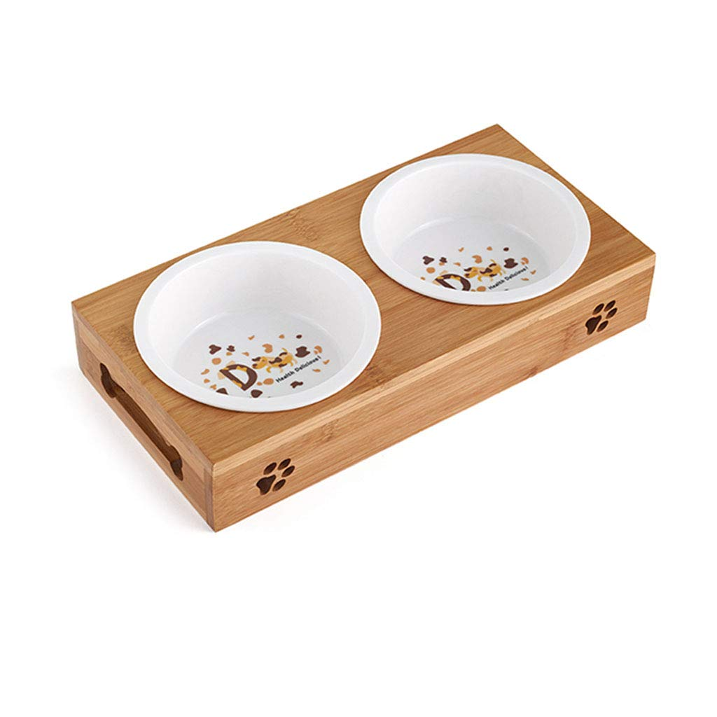 A L A L QIQI-PET Pet Bowls Food Water Feeding Bowls Ceramic Stainless Steel for Dog Cat with Bamboo Stand (Size   L, Style   A)
