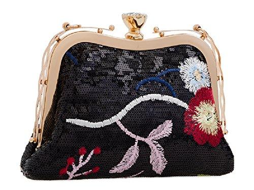 Women's Ladies Floral Handbag Clutch Glitter Bag Diamante KJ2235 Clasp Designer Gold Sequin r0wqxzr5