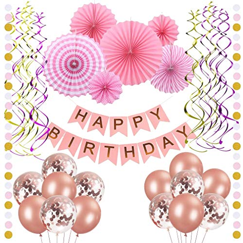 For Sale! MYFAMIREA 36-Piece Birthday Party Decorations Kit, Pink Paper Fans,Pink and Gold Happy Birthday Banner Decorations Confetti Balloons (Rose Gold)& Hanging Ribbon,with 38 pcs Garland Paper dot
