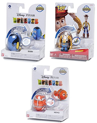 Disney Hatch 'n Heroes Pixar Collection Toy Story Woody & Finding Nemo & Dory Transforming Character Figure 3 pack bundle