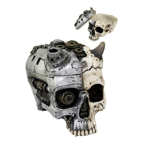 6.75 Inch Steampunk and Devil Horned Split Skull Statue Figurine