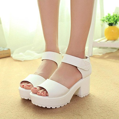 Jamicy Ladies Sandals Open Toe Platform Sandals Women Summer High Heel Gladiator Chunky Shoes White RgP5M4