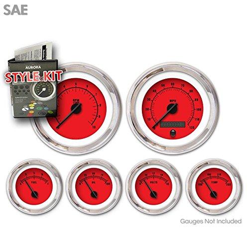 Aurora Instruments 1472 Rider Red SAE Style Kit Black Vintage Needles, Chrome Trim Rings
