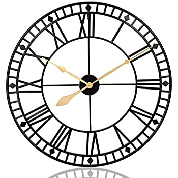 PUMERIT Wall Clock Vintage Rustic Metal Wall Décor 31.5 Inch Handmade Silent Retro Large Wall Clock for Living Room Hotel Restaurant Decoration