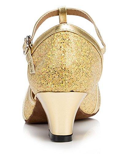 F & M piel sintética para mujer Mid tacón Salsa Tango salón de baile zapatos de baile latino Party CM101 5cm Glitter Gold