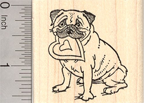 (Valentine's Day Pug Rubber Stamp, Dog with Heart in Mouth)