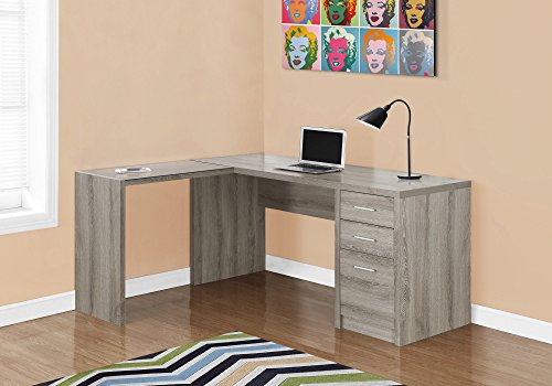 Amazon.com: Monarch Specialties I 7138 Dark Taupe Corner With Tempered  Glass Computer Desk: Kitchen U0026 Dining