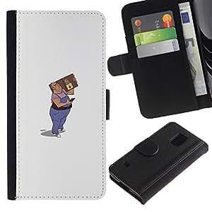 iBinBang / Flip Funda de Cuero Case Cover - Mail Man Drawing Art 3D Figure Package - Samsung Galaxy S5 V SM-G900