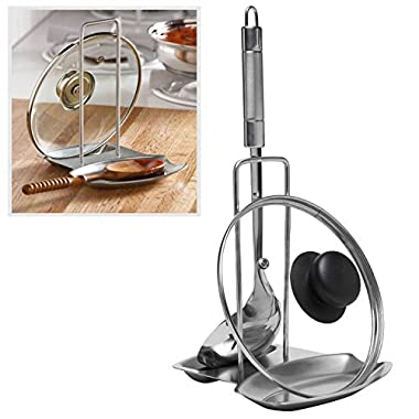 Modern Stainless Steel Upright Spoon Rest / Pot Lid Holder Tray - MyGift®