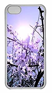 iPhone 5C Case, Personalized Custom White Cherry Blossoms 3 for iPhone 5C PC Clear Case