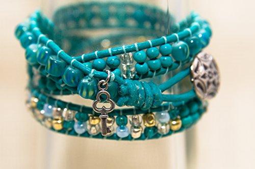 Charlotte- Teal Tri-Design Wrap Bracelet (Charlotte Wrap)