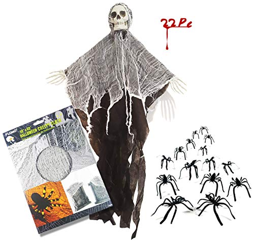 Halloween Decoration bundle with 1 Creepy Scary Skeleton Clothed Grim Reaper Figure, 1 Creepy Cloth and 20 Small Spiders