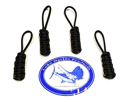 4 Pack Lobo Marine Products 550 Paracord Jeep Soft Top And Boat Enclosure Zipper Pulls Made in the USA (Black)