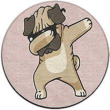 Dabbing Pug Hip Hop Non-slip Mats Circular Carpet Mats Dining Room Bedroom Carpet Floor Mat 23.6 Inch