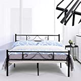 GreenForest Bed Frame Full Size with Headboard and Stable Metal Slats Boxspring Replacement Double Platform Mattress Base,Black (Full)