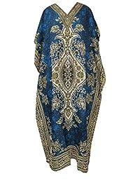 RiSi Women's Floral Print Pretty Kaftan, V-Neck Kimono Long Caftan Dress, One Size / Free Size Teal Blue