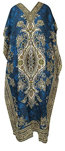 RiSi Women's Floral Print Pretty Kaftan, V-Neck Kimono Long Caftan Dress, One Size / Free Size Teal (V-neck Kimono)