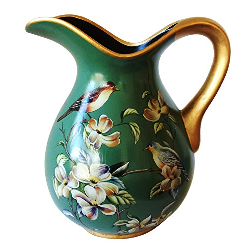 - Ceramic Decorative Beautiful Vintage Green Curved Pitcher or Vase, Dark Green Body with Floral and Bird
