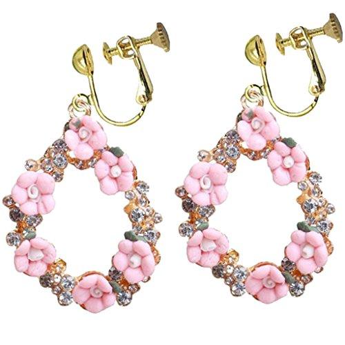 (Fashion Enamel Pink Flower Clip on Earrings CZ Oval Teardrop Dangle Prom Bar Dress Up for Girls Women)