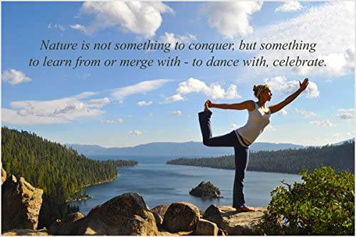 Amazon Com Yoga Woman Pose On Mountain Inspirational Poster Puffy Clouds Quote 24x36 Home Kitchen