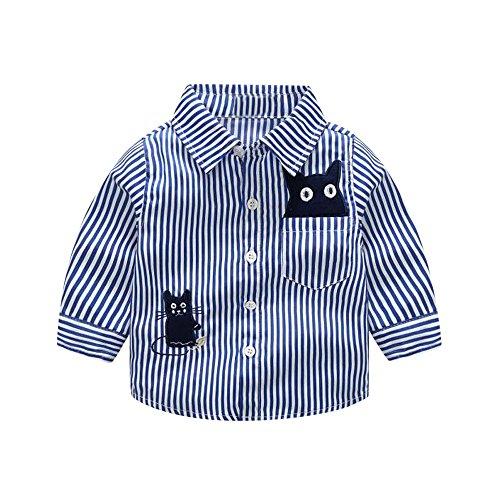 Winsummer Baby Boys' Uniform Solid Long Sleeve Button Down Stripe Flannel Oxford Shirt Kids Boys Girls Shirts Tops (Boys Stripe Oxford)