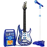 Best Choice Products Kids Electric Musical Guitar Toy Play Set w/ 6 Demo Songs, Whammy Bar, Microphone, Amp, AUX - Blue