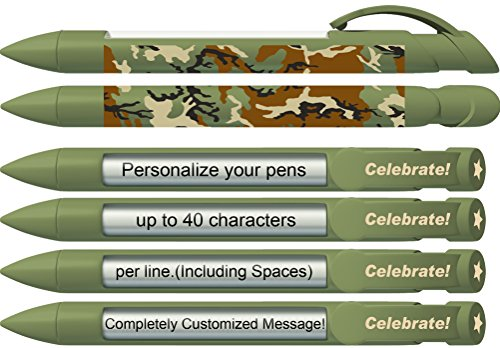 - Greeting Pen Personalized Green Camo Celebrate! Rotating Message Pen - 25 Pack (0533-A-25)
