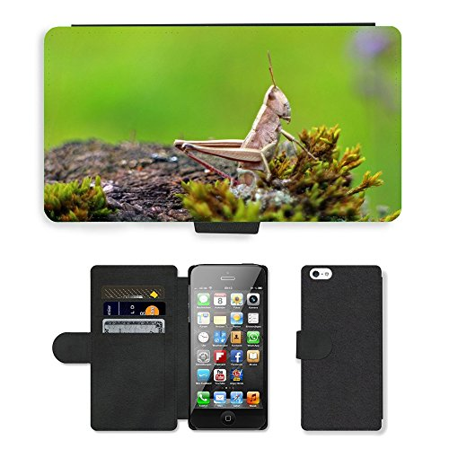 GoGoMobile PU Leather Flip Custodia Protettiva Case Cover per // M00123510 Champ Grasshopper // Apple iPhone 5 5S 5G